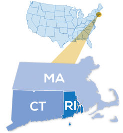 Map of USA highlighting Southern New England